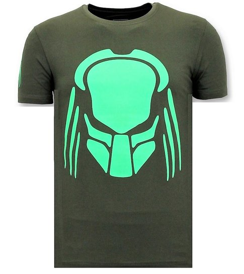 Local Fanatic  T-shirt Heren met Print - Predator Neon Print - Groen