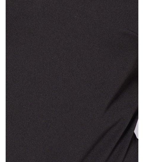 PARISIAN Flock Print Sheer Sleeve Plunge Neck Bodysuit - Dames  - Zwart