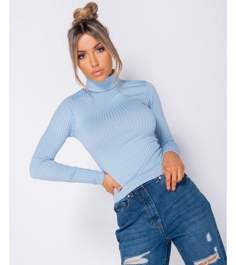PARISIAN Rib Knit Polo Neck Long Sleeve Top -Dames Top - Blauw