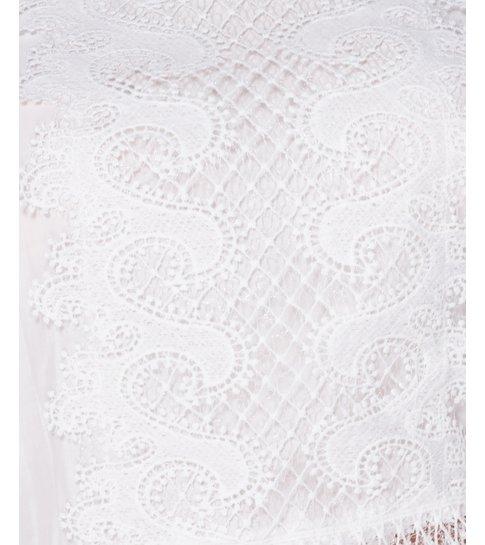 PARISIAN Lace Panel Detail Bow - Dames Blouse - Wit