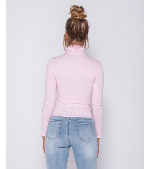 PARISIAN Rib Knit Polo Neck Long Sleeve -Dames Top - Roze