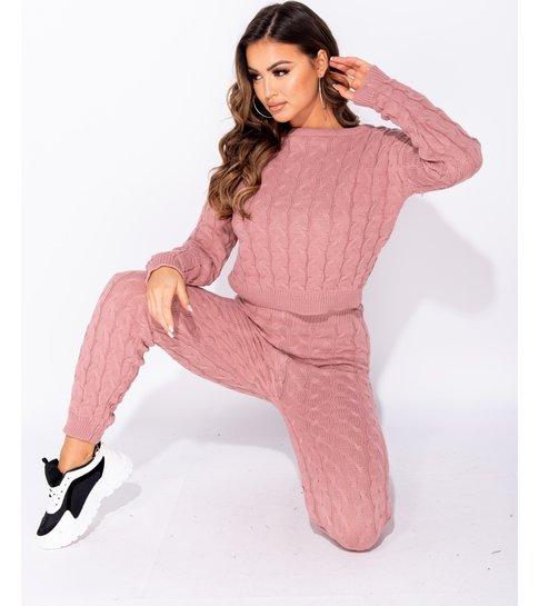 PARISIAN Cable Knit Long Sleeve Top & Legging Lounge Set  - Dames  - Roze
