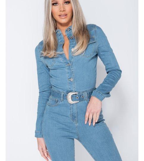 PARISIAN Western Belt Detail Long Sleeve Denim Jumpsuit  - Dames  - Blauw
