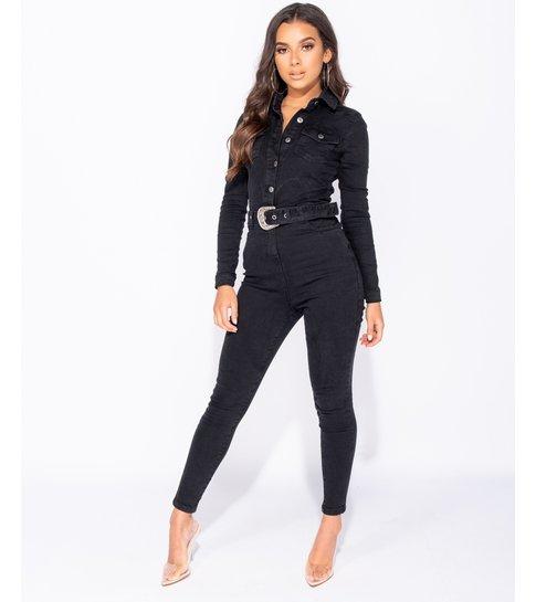 PARISIAN Western Belt Detail Long Sleeve Denim Jumpsuit  - Dames  - Zwart