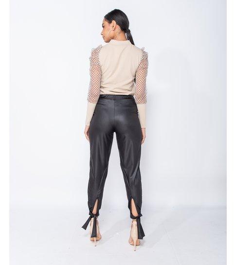 PARISIAN Wet Look Tie Up Hem Tapered Trousers  - Dames  - Zwart