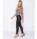 PARISIAN Wet Look High Waisted Leggings  - Dames  - Zwart