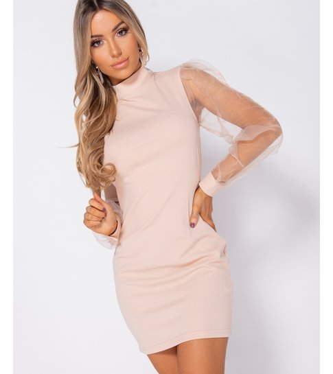 PARISIAN Organza Sheer Puff Long Sleeve Bodycon Mini Dress  - Dames  - Roze