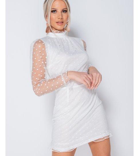 PARISIAN Polka Dot Sheer High Neck Frill Trim Dress  - Dames  - Wit