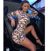PARISIAN Abstract Print Long Sleeved Mesh Bodycon Dress  - Dames  - Roze