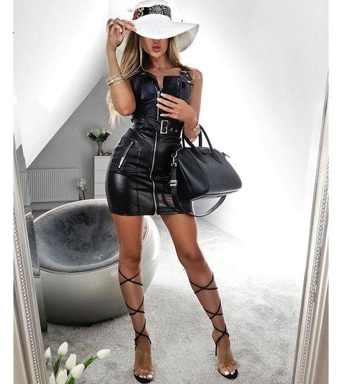 PARISIAN Leather Look Biker Style Bodycon Mini Dress  - Dames  - Zwart