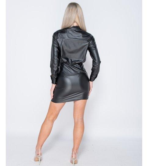 PARISIAN PU Wrapover Front  Bodycon Mini Dress - Dames  - Zwart