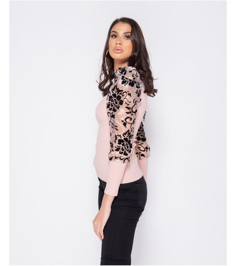 PARISIAN Sheer Flock Print Organza Sleeve High Neck Top - Dames  - Roze