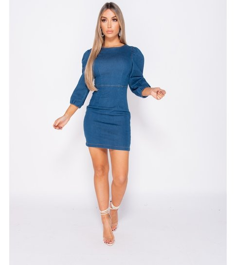 Paris Puffed Sleeve Denim Bodycon Dress - Dames  - Blauw
