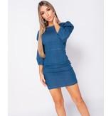 PARISIAN Puffed Sleeve Denim Bodycon Dress - Dames  - Blauw