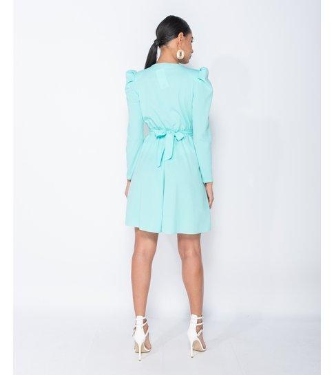 Paris Puffed Sleeve Wrap Front Buckle Detail Mini Dress - Dames  - Groen