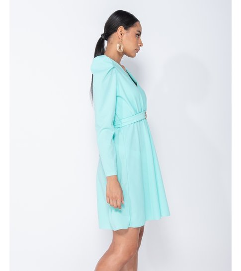 PARISIAN Puffed Sleeve Wrap Front Buckle Detail Mini Dress - Dames  - Groen