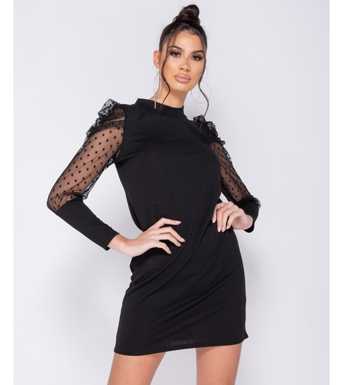Paris Polka Dot Sheer Puffed Sleeve Bodycon Mini Dress - Dames  - Zwart