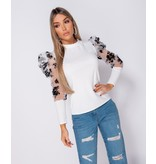 PARISIAN Floral Flock Print Puffed Sleeve High Neck Tops - Dames  - Wit