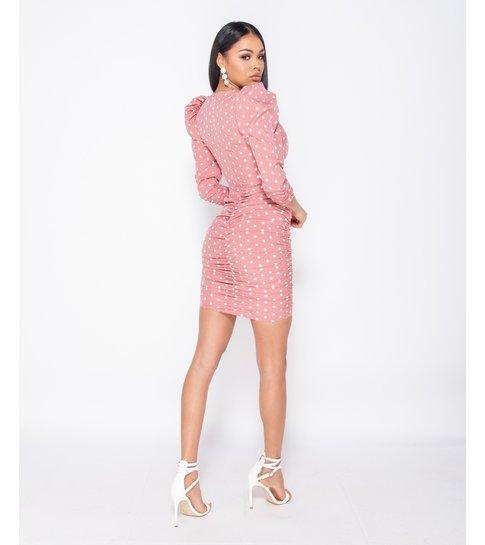 Paris Polka Dot Puff Sleeve Ruching Detail Bodycon Dress  - Roze
