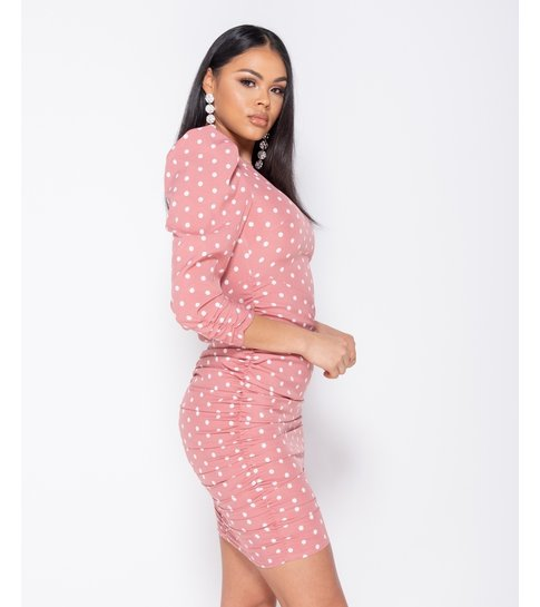 PARISIAN Polka Dot Puff Sleeve Ruching Detail Bodycon Dress  - Roze