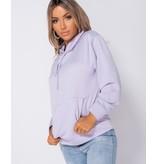PARISIAN Oversized Draw String Hooded Sweatshirt - Dames - Lila
