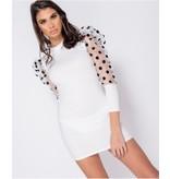 PARISIAN Sheer Polka Dot Organza Sleeve Bodycon Mini Dress - Dames - Wit