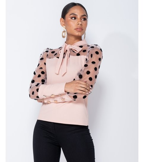 PARISIAN Polka Dot Organza Sleeve Tie Neck Blouse - Dames - Pink