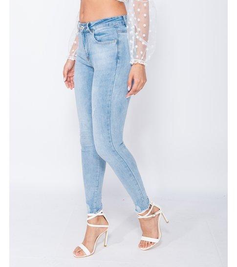 PARISIAN Frayed Hem Mid Waist Skinny Jeans - Dames - Blauw