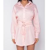 PARISIAN Long Sleeve Shirt Dress With  Belt - Dames - Roze