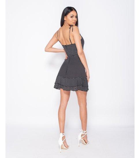 PARISIAN Polka Dot Tiered Hem Strappy Mini Dress - Dames -Zwart