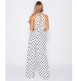 PARISIAN Polka Dot Tie Waist Gathered Neck Jumpsuit - Dames - Wit