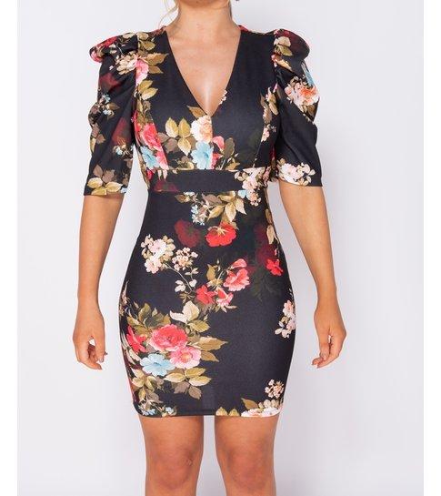 PARISIAN Floral Print Puffed - Bodycon Mini Dress - Dames - Zwart