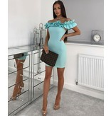 PARISIAN Ruffle Detail Bardot Bodycon Mini Dress - Dames - Groen
