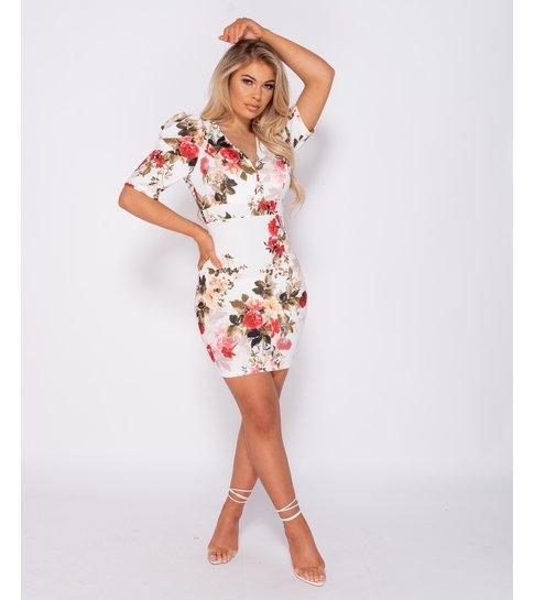 PARISIAN Floral Print Puffed  Bodycon Mini Dress - Dames - Wit