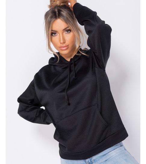 PARISIAN Oversized Draw String Hooded Sweatshirt - Dames - Zwart