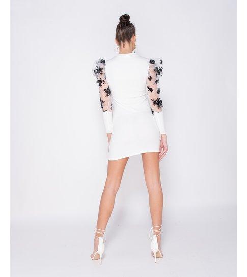 PARISIAN Sheer Floral Print - Bodycon Mini Dress - Dames - Wit