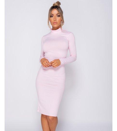 PARISIAN Rib Knit Polo Neck - Midi Dress - Dames - Roze
