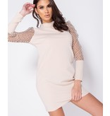 Paris Polka Dot Sheer Puffed - Bodycon Mini Dress - Dames - Beige
