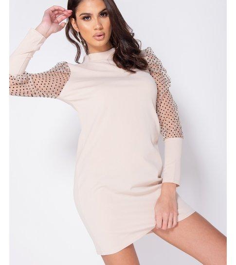 PARISIAN Polka Dot Sheer Puffed - Bodycon Mini Dress - Dames - Beige