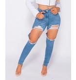 Paris Extreme Distressed High Waist Skinny Jeans - Dames - Blauw