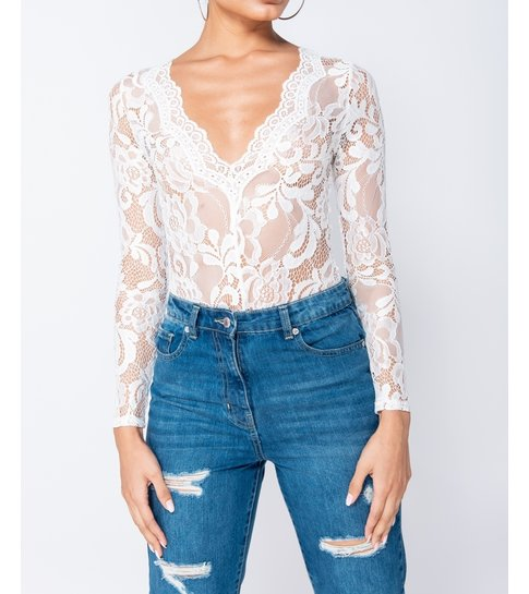 Paris Lace Scalloped Edge Sheer Long Sleeve Bodysuit - Dames - Wit