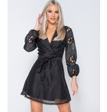 Paris Broderie Anglaise - Wrapover Belted Mini Dress - Dames - Zwart