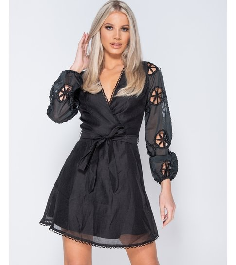 PARISIAN Broderie Anglaise - Wrapover Belted Mini Dress - Dames - Zwart