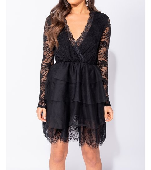 PARISIAN Lace Panel Multi Tier Mesh Mini Dress - Dames - Zwart