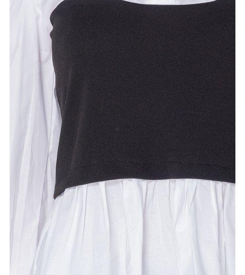 PARISIAN Corset Detail Puffed  Blouse - Dames - Zwart /Wit