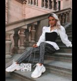 Paris Corset Detail Puffed  Blouse - Dames - Zwart /Wit