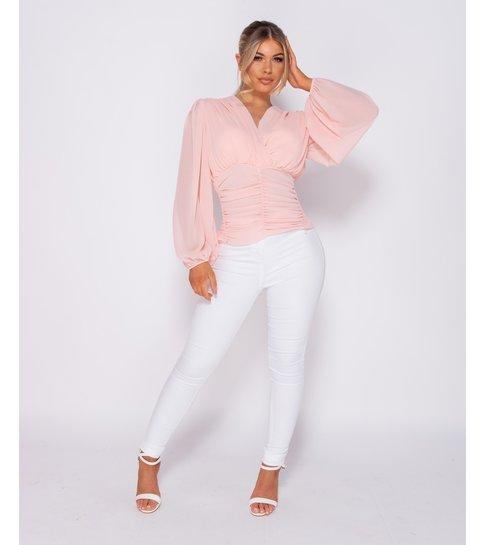 Paris Shirring Detail Wrap Front Top - Dames - Roze