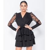 PARISIAN Polka Dot Mesh Sleeve Wrap - Tiered Detail Mini Dress - Dames - Zwart