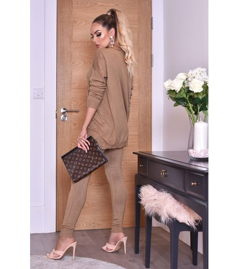 CTW Pixie Grey Two Piece Loungewear Set - Dames - Bruin