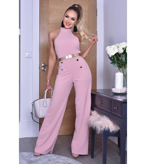 CTW Katrina Halter Button Jumpsuit - Dames - Roze